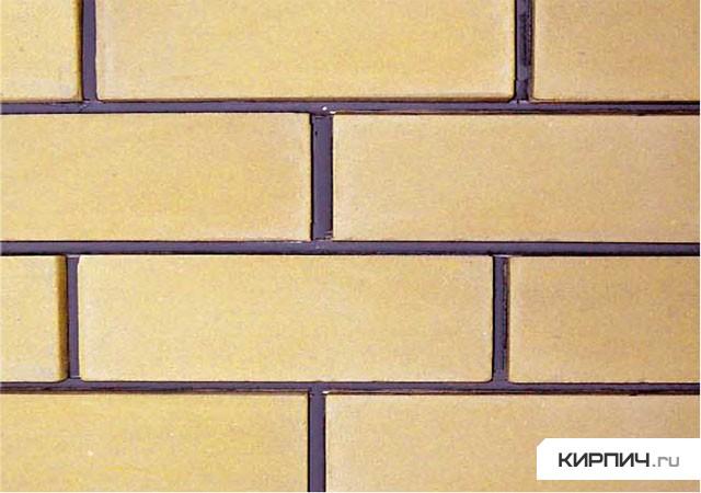 Так выглядит Кирпич силикатный облицовочный полуторный гладкий жёлтый на фото