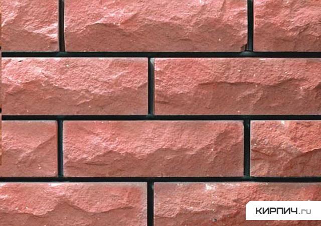 Так выглядит Кирпич силикатный облицовочный полуторный рустироованный ложок-тычок розовый на фото