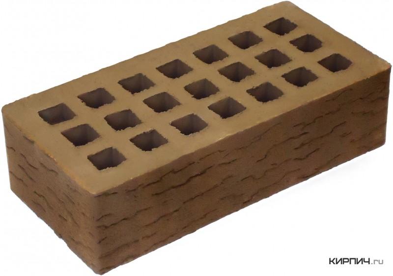 Так выглядит Кирпич коричневый керамический облицовочный одинарный Кора дуба М-150 250х120х65 на фото
