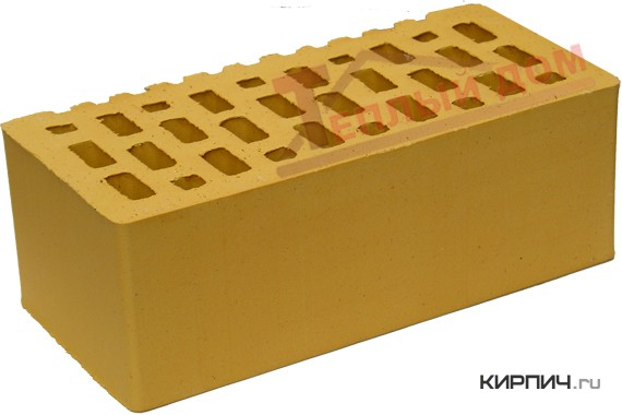 Так выглядит Кирпич солома золотистый керамический облицовочный полуторный щелевой М-200 на фото