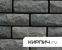 Так выглядит Кирпич силикатный облицовочный одинарный рустированный угловой черный на фото