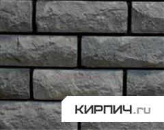 Так выглядит Кирпич силикатный облицовочный одинарный рустированный ложок-тычок черный на фото
