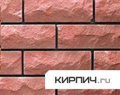 Так выглядит Кирпич силикатный облицовочный одинарный рустированный ложок-тычок розовый на фото