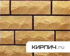 Так выглядит Кирпич силикатный облицовочный одинарный рустированый ложок-тычок жёлтый на фото
